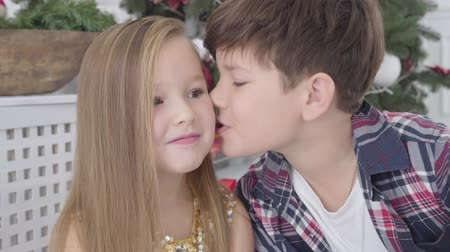 pocałunek : Close-up face of shy Caucasian little girl sitting under New Year tree as cute boy kissing her on cheek. Christmas eve, first love, happiness Wideo