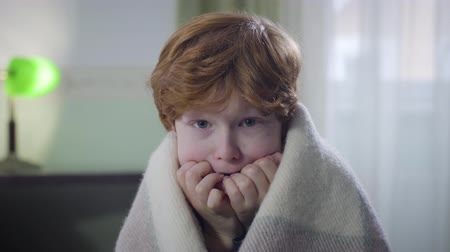 redhair : Portrait of terrified Caucasian redhead boy sitting indoors covered with blanket and looking around. Little child left home alone. Childhood, fear, lifestyle Stock Footage