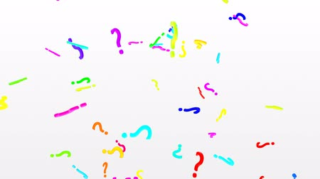 renseigner : 3D Question Marks Falling in Slow Motion Rainbow Colors on White Backdrop - 4K Seamless Loop Motion Background Animation Vidéos Libres De Droits