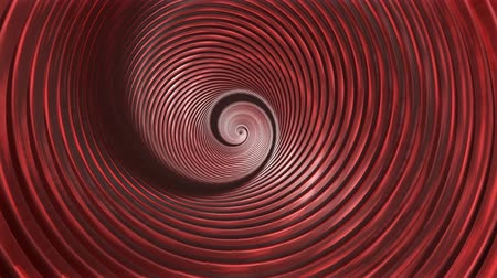 Endless Spiral Tunnel Twisting and Rotating Reflecting Shiny Red Light - 4K Seamless Loop Motion Background Animation