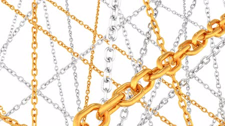 platina : Silver and Gold Beautiful Jewelry Luxury Metal Chains Sparkle - 4K Seamless Loop Motion Background Animation