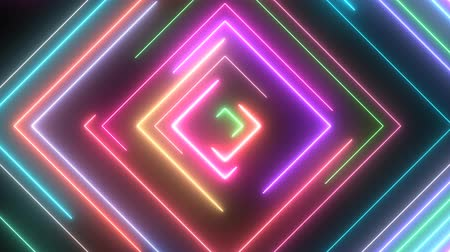 Neon Square Shapes Glow with Moving Electric Laser Light Beams - 4K Seamless Loop Motion Background Animation 무비클립