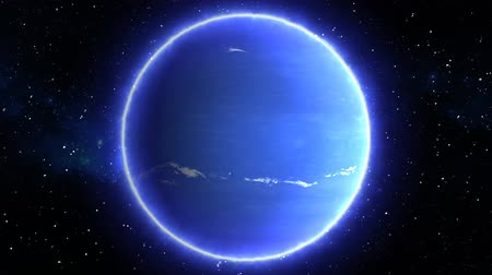 Beautiful View of Planet Neptune from Space Timelapse and Stars - 4K Seamless Loop Motion Background Animation
