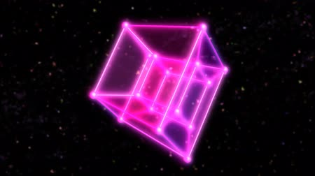 4 Dimensional Hypercube Tesseract Rotating in Outer Space and Stars - 4K Seamless Loop Motion Background Animation Wideo