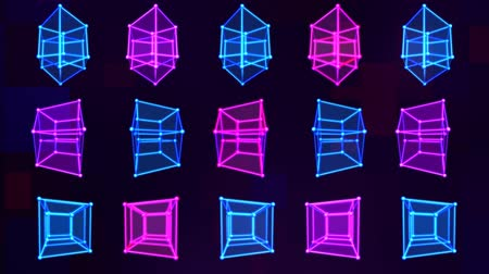 geometric : 4D Hypercube Tesseract Array Matrix with Trippy Visual Neon Colors - 4K Seamless Loop Motion Background Animation