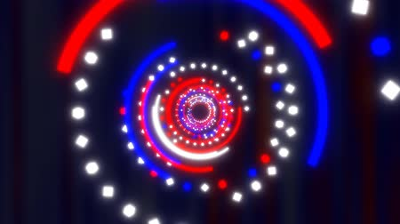 Fly through Red White and Blue Fourth of July Abstract Glow Tunnel - 4K Seamless Loop Motion Background Animation