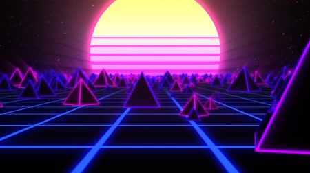 ultraviolet : Retro Pyramids on 80s Synthwave Neon Landscape with Glowing Sun - 4K Seamless Loop Motion Background Animation Stock Footage