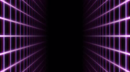Retro Synthwave 80s Neon Grid Net Lines en Parallel Planes - 4K Seamless Loop Motion Achtergrondanimatie Stockvideo