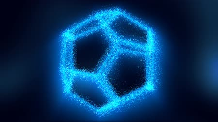 complexidade : Shiny Rotating 3D Holographic Light Hologram Image of Dodecahedron - 4K Seamless Loop Motion Background Animation Vídeos