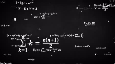 função : Fly through Math Formula Equation Science Symbols on Blackboard - 4K Seamless Loop Motion Background Animation