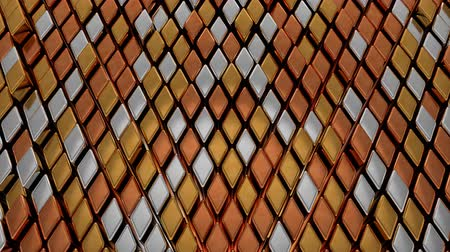 Abstract Gold Silver and Bronze Diamond Rhombus Metal Shape Tiles - 4K Seamless Loop Motion Background Animation