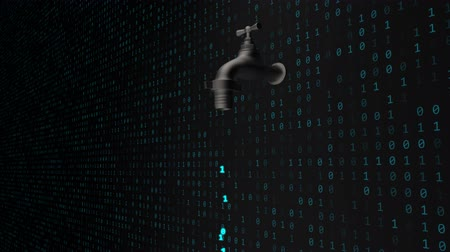 Data Leak Concept with Software Binary Code Flowing from Faucet Tap - 4K Seamless Loop Motion Background Animation