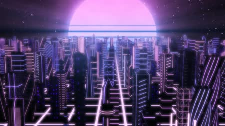 Vlieg over Neon City Outrun Synthwave-gebouwen met 80s Retro Sun - 4K Seamless Loop Motion Achtergrondanimatie Stockvideo