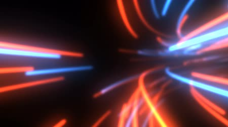 Flying in Futuristic Data Stream Technology Tunnel of Glowing Lines - 4K Seamless Loop Motion Background Animation