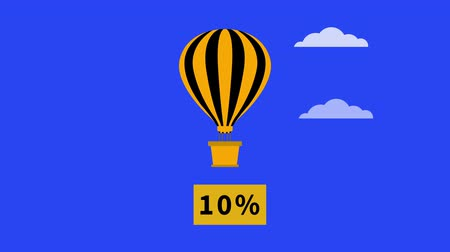 dez : Three hot air balloons with baskets on sky background with clouds. Banners with discount percentages appear under baskets. Balloons and banners appear sequentially one after another. Clouds fly in sky