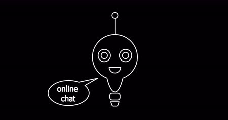 Animation flat chat bot with speech bubble icon. Conversation with chatbot. Chatbot giving reply to customer. Continuous single line drawing. Drawing animation. Graphic video. 4K Motion Animation