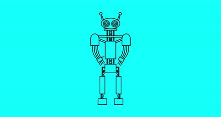 bot : Animation flat robot black outline isolated on blue background. Symbol of artificial intelligence and robotics. Robot and automation concept. Drawing animation. Graphic video. 4K Motion Animation.