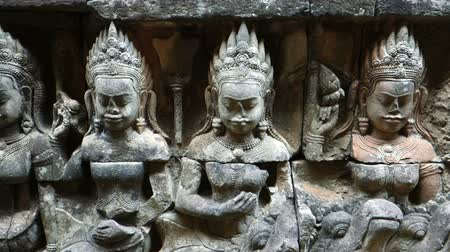 leper : Angkor Wat Temple, Cambodia, The Worlds Largest Religious Building, Khmer architecture style Stock Footage