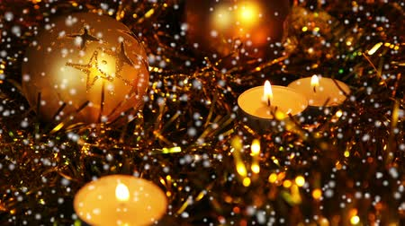 Christmas New Year candle Gold sparkling Background, Close-Up. Christmas and New Year celebration.