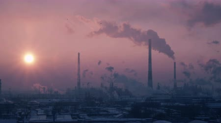 oil industry : sunset video of oil refinery air polution. full hd video.