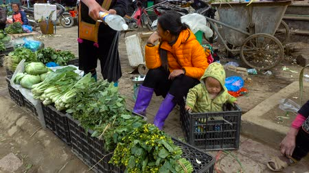 sapa people : SA PA - DECEMBER 10, 2016: Street scene with local Hmong people selling goods at sunday market on december 10, 2016 in Sa Pa, Vietnam. Stock Footage