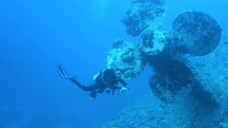 salem express : Diver explores ship wreck Salem Express on seabed underwater in Red Sea, Egypt. Full HD underwater footage.