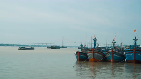 south asian food : Ships on Mekong delta Stock Footage