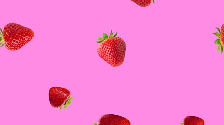 vitamin c : Abstract colorful animation - strawberry pink background. Strawberry rotating and falling down.