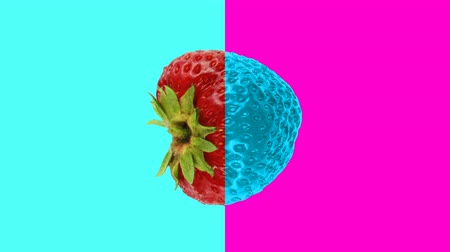 quadro de avisos : Abstract colorful animation - strawberry cyan - pink background. Strawberry rotating - seamless loop.