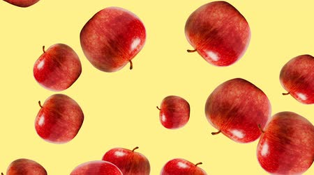 plakat : Abstract colorful animation - Apple color mix background. - Apples rotating and falling down. Wideo