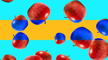 vitamin c : Abstract colorful animation - Apple color mix background. - Apples rotating and falling down. Stock Footage