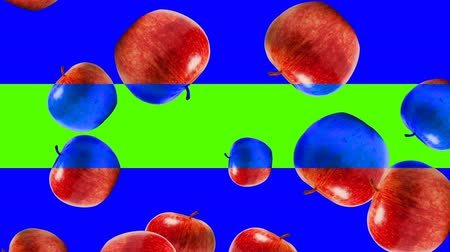 césar : Abstract colorful animation - Apple color mix background. - Apples rotating and falling down. Stock Footage