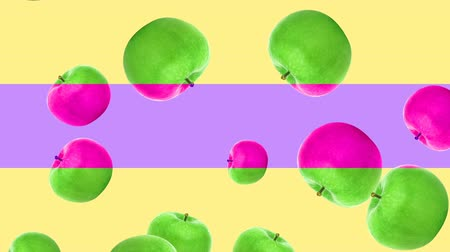 césar : Abstract colorful animation - green apple background. - Apples rotating and falling down.