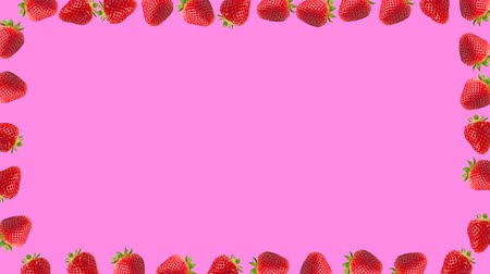 césar : Abstract colorful animation - strawberry border frame. Strawberry rotating - seamless loop. Stock Footage