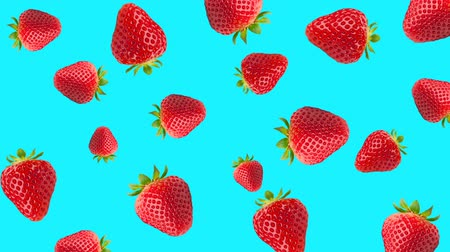 stop motion : Abstract colorful animation - strawberry color background. Strawberry rotating - seamless loop.