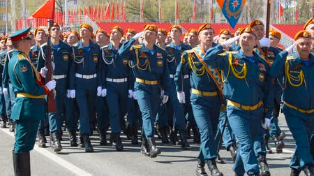 armoured : SAMARA - MAY 5: Dress rehearsal of military parade during the celebration of the Victory in the Great Patriotic War (World War II) on the square on May 5, 2018 in Samara, Russia. Stock Footage