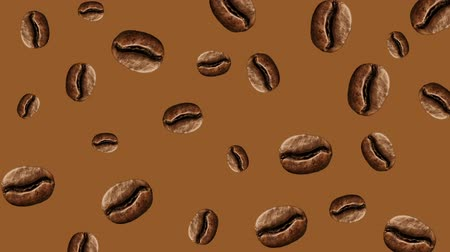 lezzet : Abstract colorful animation - coffee bean color background. Coffee beans rotating - seamless loop. Stok Video