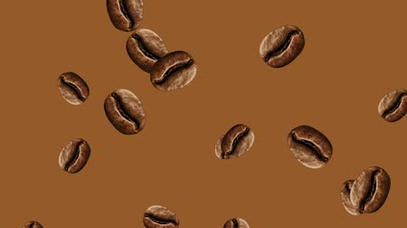 brew coffee : Abstract colorful animation - coffee bean color background. Coffee beans. Stock Footage