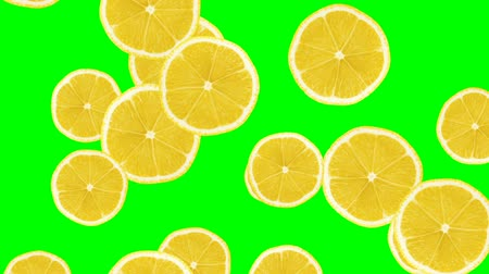 vitamin c : Abstract colorful animation - Lemon color background. Lemons rolling and falling down. Stock Footage