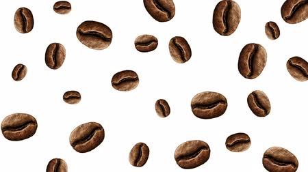 арабика : Abstract colorful animation - coffee bean color background. Coffee beans rotating - seamless loop. Стоковые видеозаписи