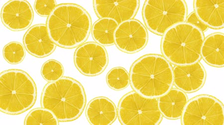 vitamin c : Abstract colorful animation - Lemon color background. Lemons rotating - seamless loop.