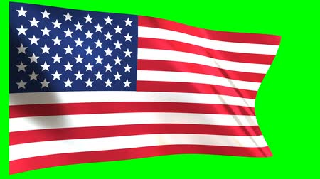 континентальный : USA Flag waving in the wind - looped animation on green background. Стоковые видеозаписи