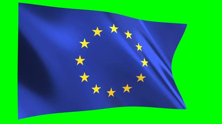 unie : European Union Flag waving in the wind - looped animation on green background.