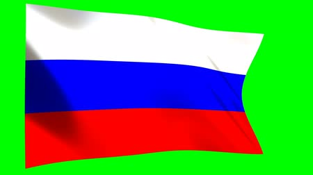 континентальный : Russian Flag waving in the wind - looped animation on green background.