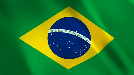 brazil : Brazil Flag waving in the wind - looped animation background.