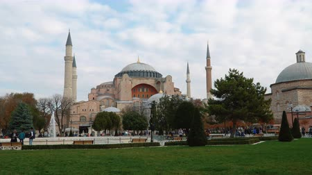 ottoman : ISTANBUL - NOVEMBER 11, 2017: Hagia Sophia - the most popular tourist place in Istanbul on November 11, 2017 in Istanbul, Turkey.