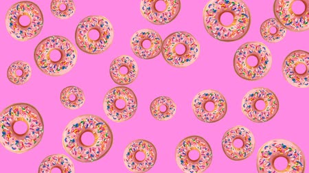 doughnut : Abstract colorful animation - pink donuts background. Donuts rotating - seamless loop.