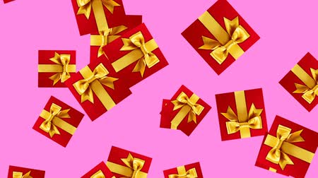 安い : Abstract Gift box animation - color background. Red Gift boxes rotating and falling - seamless loop.