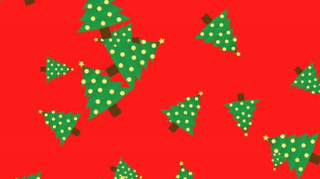 zimní : Abstract New Year Christmas tree animation - color background. Christmas trees rotating and falling - seamless loop. Dostupné videozáznamy