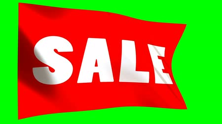barato : Red sale Flag - looped animation on green background. Online shopping banner - seamless loop.. Stock Footage